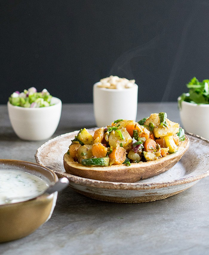 Vegan Curried Spring Vegetable Potato Chaat