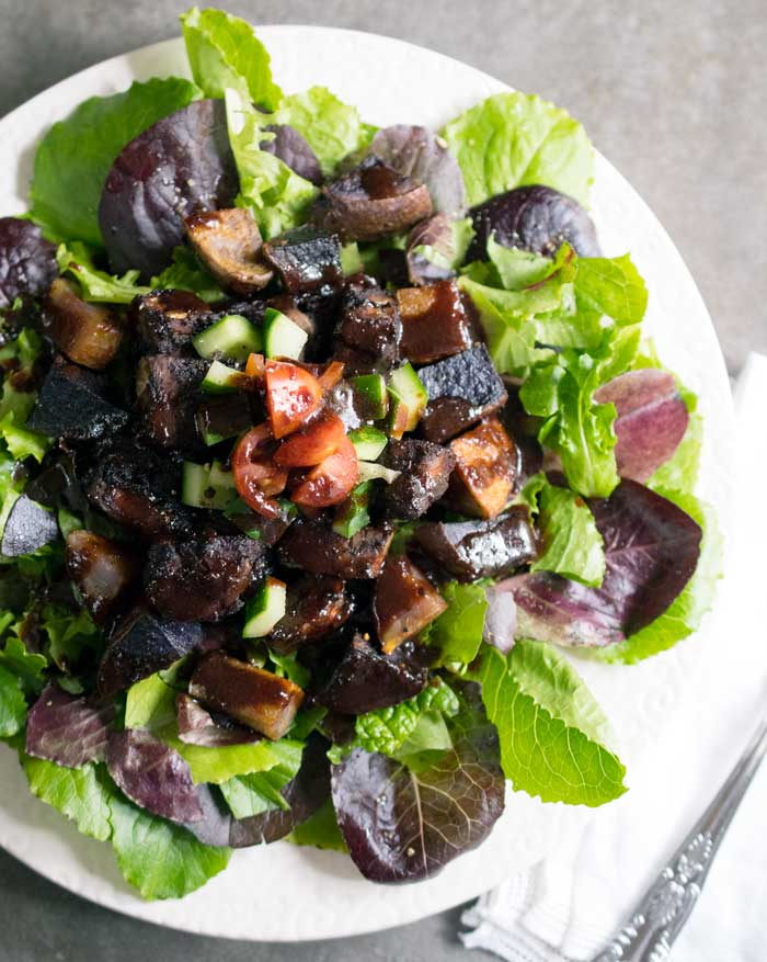 Blueberry Whiskey BBQ Salad with Tempeh and Roasted Potatoes
