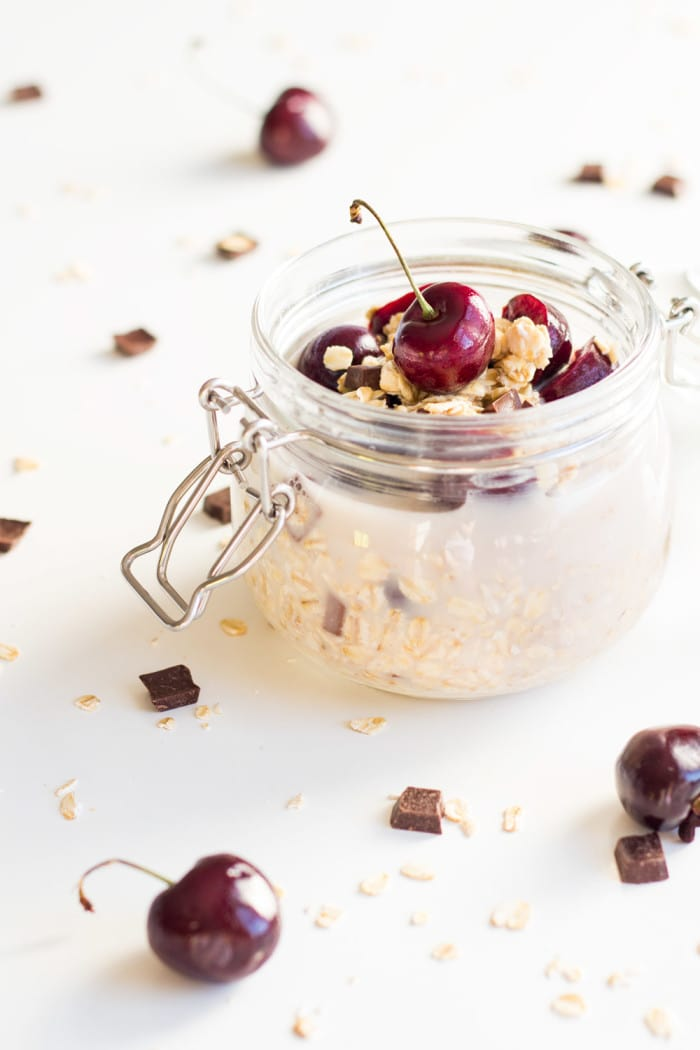 Dark Chocolate Cherry Vegan Overnight Oats from greenhealthycooking.com
