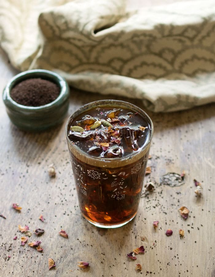 Middle Eastern Iced Coffee with Homemade Cardamom Vanilla Syrup and Rosewater #BrewedfortheBold