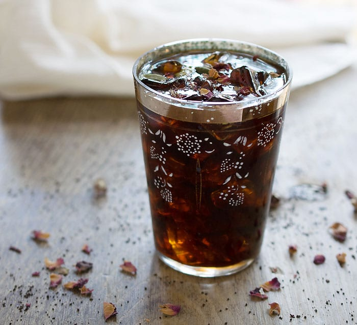 Middle Eastern Iced Coffee with Homemade Cardamom Vanilla Syrup and Rosewater