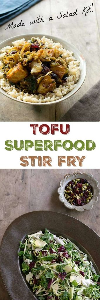 Quick and Easy Tofu Superfood Stirfry Made with an Eat Smart Sweet Kale Salad Kit