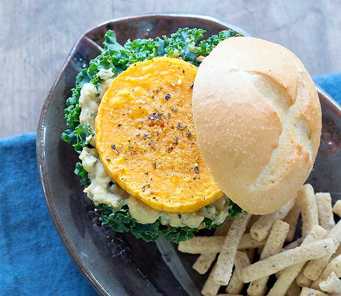 Roasted Butternut Squash Veggie Burgers with Sabra Spread