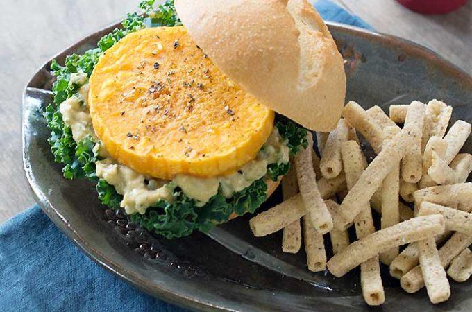 Roasted Butternut Squash Veggie Burgers with Sabra Spread