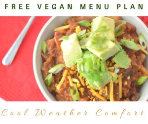 Cool Weather Comfort Vegan Menu Plan