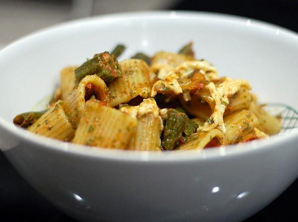Kale Rosemary Pistachio Oil Pesto Pasta