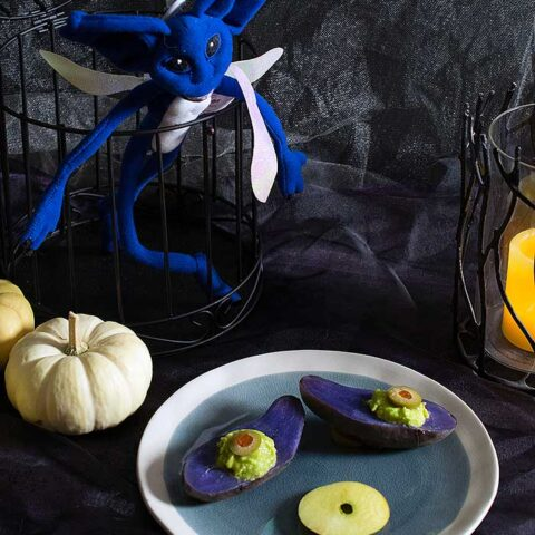 Spooky Purple Potato Eyes with Smoked Avocado Mousse