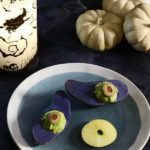 Spooky Purple Potato Eyes with Smoked Avocado Mousse
