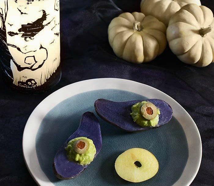 Deviled Purple Potato Eyes With Smoked Avocado Mousse