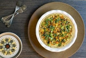 Mashed Potato Crusted Butternut Squash, Brussels Sprouts, and Tofu Pie