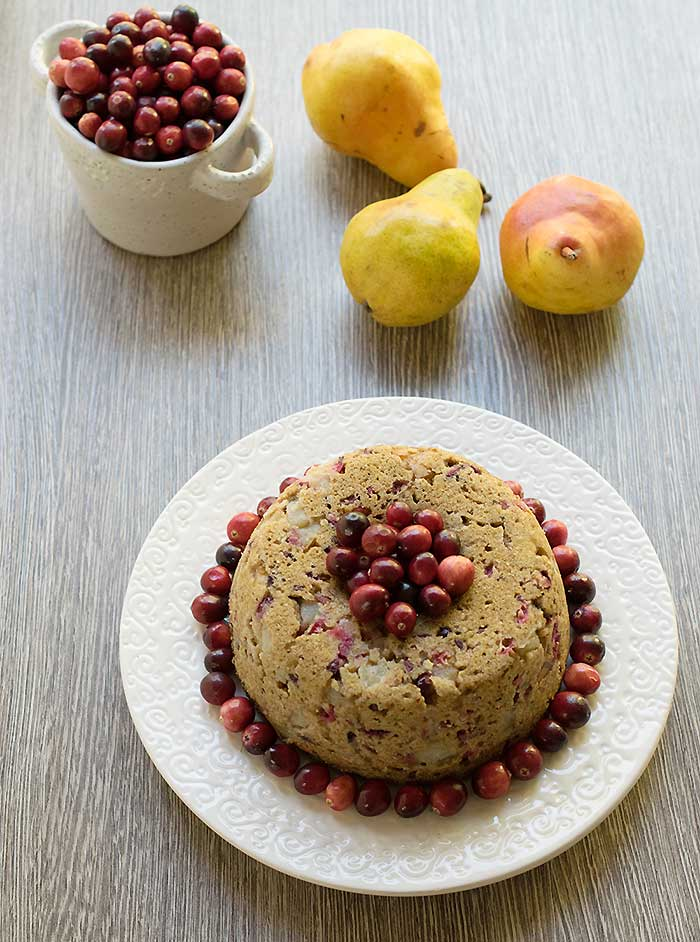 Vegan Pear and Cranberry Instant Pot Cake #RethinkSweet, @wholeearthsweetener #sponsored