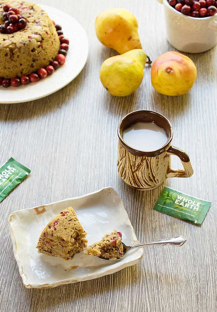 Vegan Pear and Cranberry Instant Pot Cake #RethinkSweet, @wholeearthsweetener #sponsored