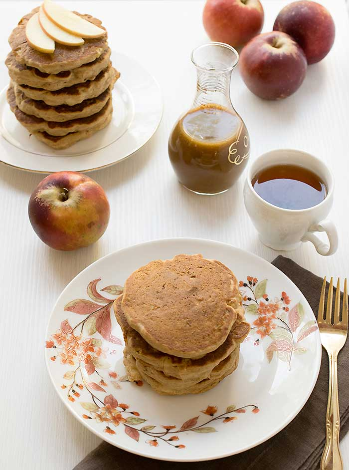 Gluten-free Apple Teff Pancakes with Homemade Date Caramel Syrup