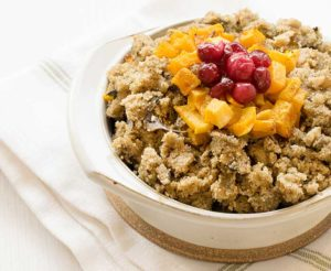 Gluten-free Vegan Teff Stuffing with Roasted Butternut Squash and Candied Cranberries
