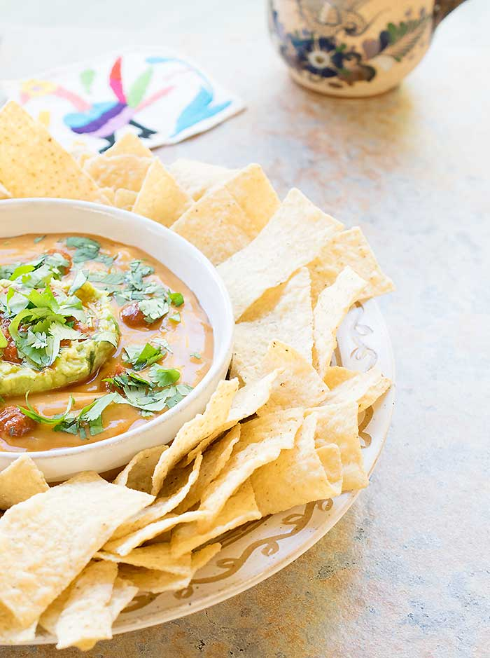 Vegan Torchy's Queso Copycat Made with Potato and Homemade Rojo Sauce!