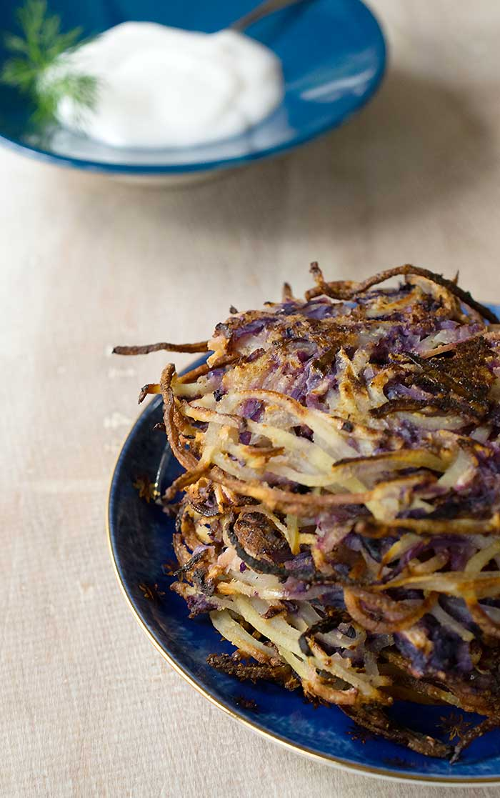 Spiralized Vegan Latkes with Red Cabbage and Apple