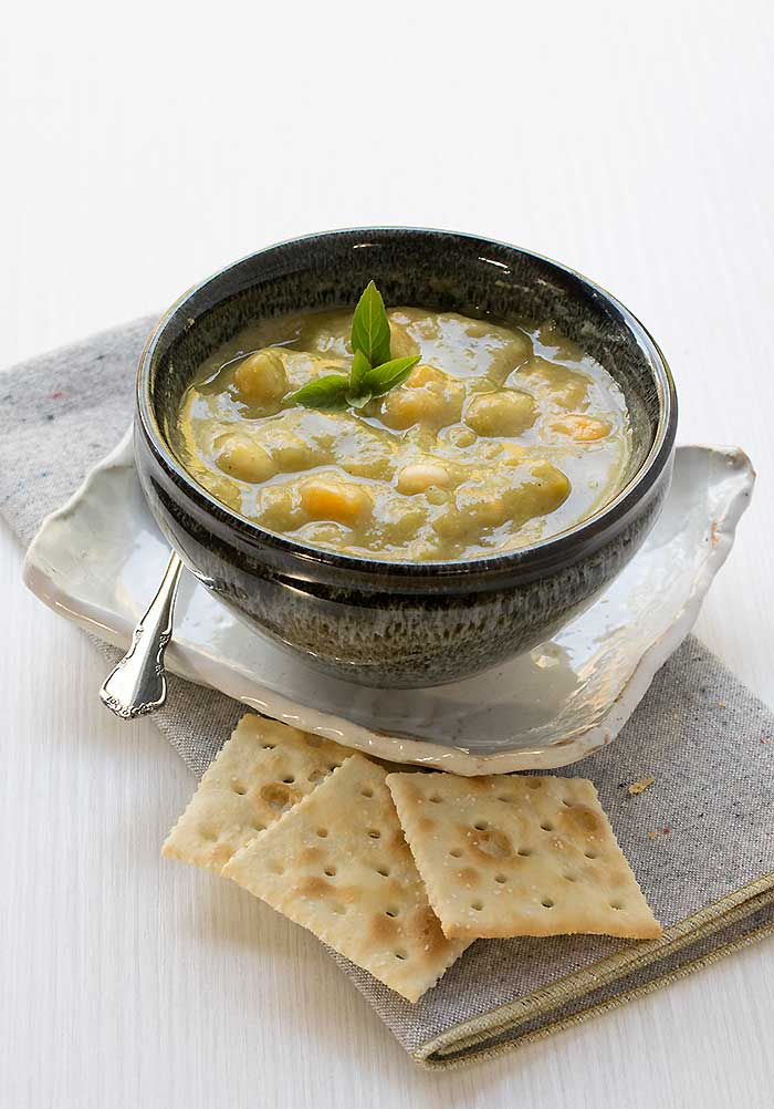 Smoky Vegan Split Pea Soup with Sweet Potatoes and Navy Beans