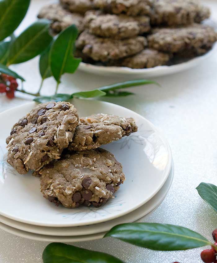 Gluten-free Vegan Chocolate Chip Pecan Cookies Made with Teff Flour and Coconut too!