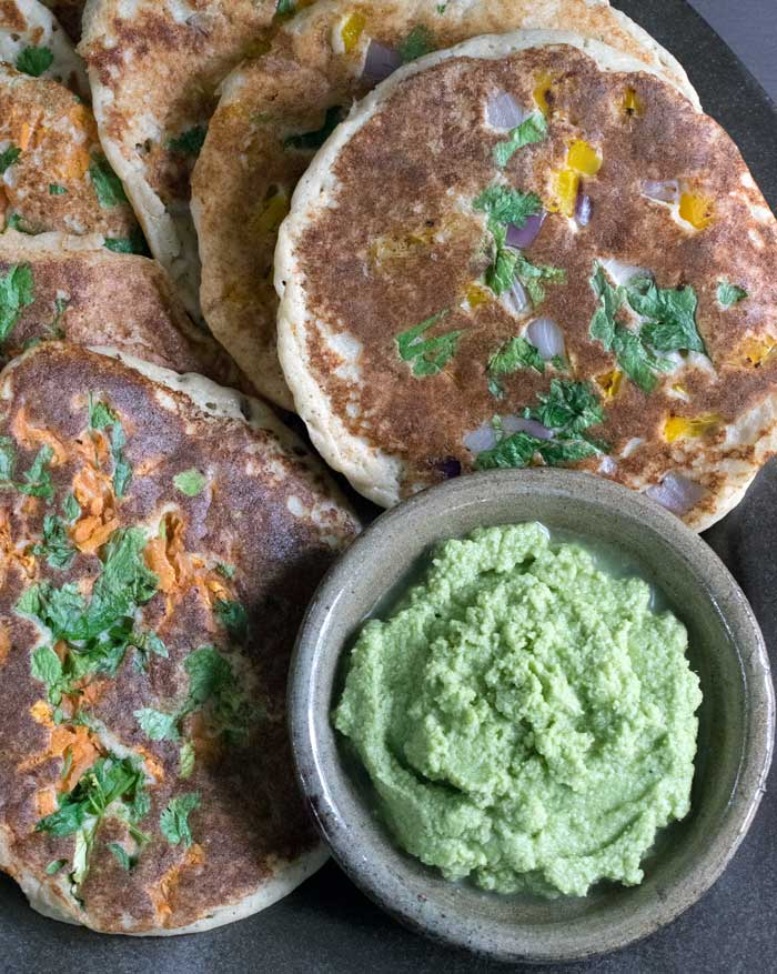 Uttapam with Cilantro Coconut Chutney from The Ultimate Vegan Cookbook for Your Instant Pot