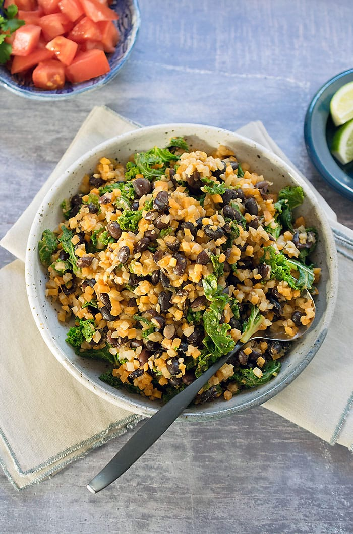 Quick and Easy Weeknight Vegan Skillet: Cauliflower Rice and Black Beans with Kale