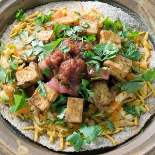 Got to Be NC Air Fried Chili Cumin Tofu Rancheros with Veggies & Little Face Salsa