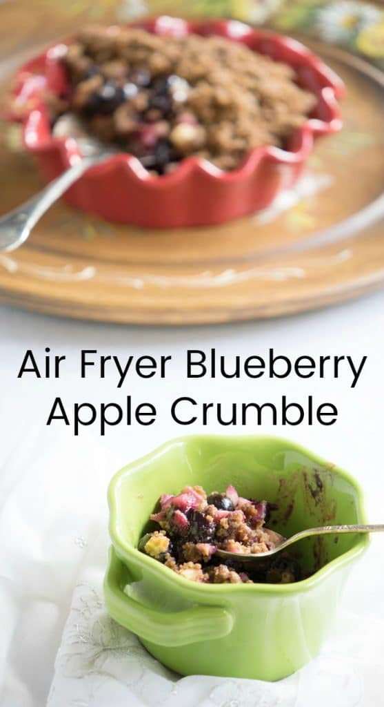 Vegan Air Fryer Crumble with Blueberries and Apple