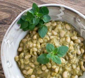 Vegan Instant Pot Tomatillo-Poblano White Beans