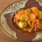 Vegan Brussels Sprout and Butternut Squash Curry over Instant Pot Wheat Berries