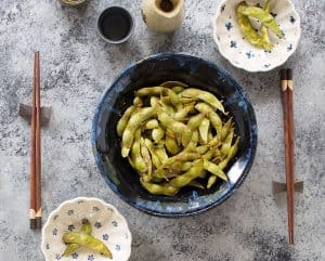 Air Fryer Sesame, Ginger and Garlic Edamame