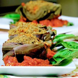 Vegan Cashew Stuffed Artichokes from Jazzy Vegetarian's Deliciously Vegan