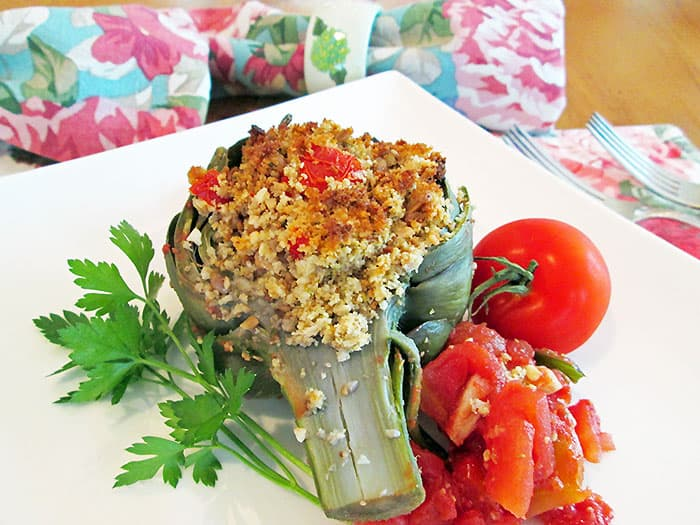 Cashew Stuffed Artichokes from Jazzy Vegetarian's Deliciously Vegan