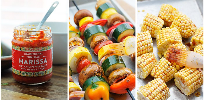 Harissa paste, veggie kabobs and corn cobs
