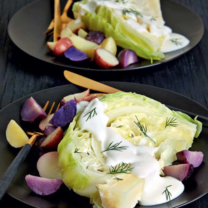 Slow Cooker Dill Cabbage Steaks over Roasted Rainbow Potatoes