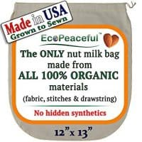 Nut Milk Bag - ALL 100% Organic Cotton (Fabric, Stitches, Drawstring)