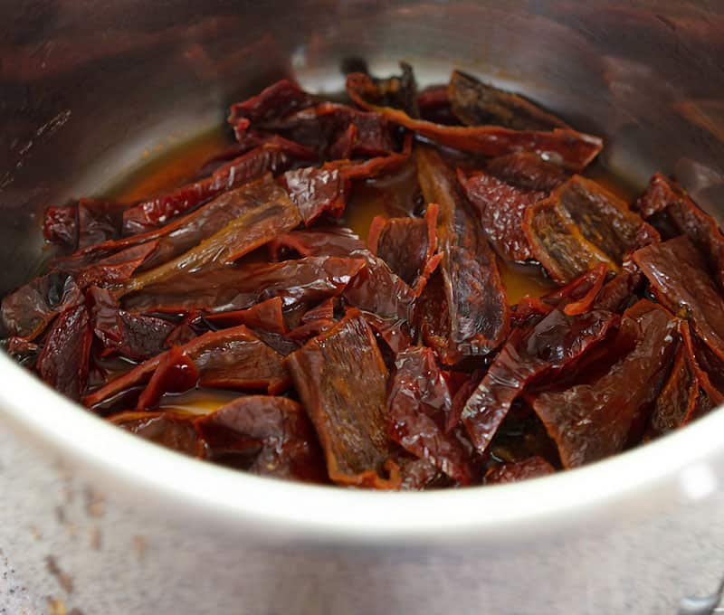 Reconstituted ancho chilies