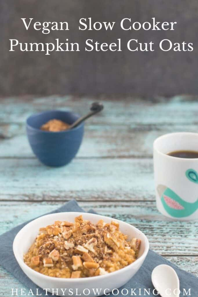 In case you didn't already know, I am in love with everything pumpkin and autumn. Slow Cooker Pumpkin Steel Cut Oats is a breakfast with a healthy base of hearty oats flavored with pumpkin and spices. Add the topping for a sweeter oatmeal, or just stir in a little applesauce or date paste.