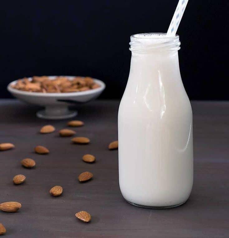 homemade almond milk in a milk bottle