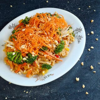 Vegan Instant Pot Pad Thai with Soy Curls garnished with spiralized carrots
