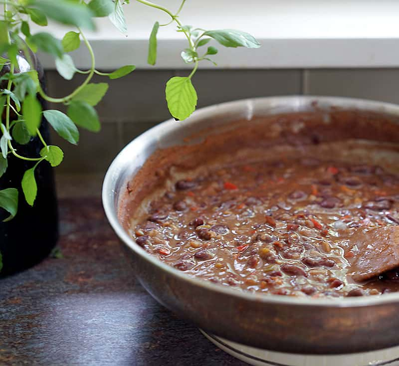 Cheater Red Beans and Rice in a saute pan
